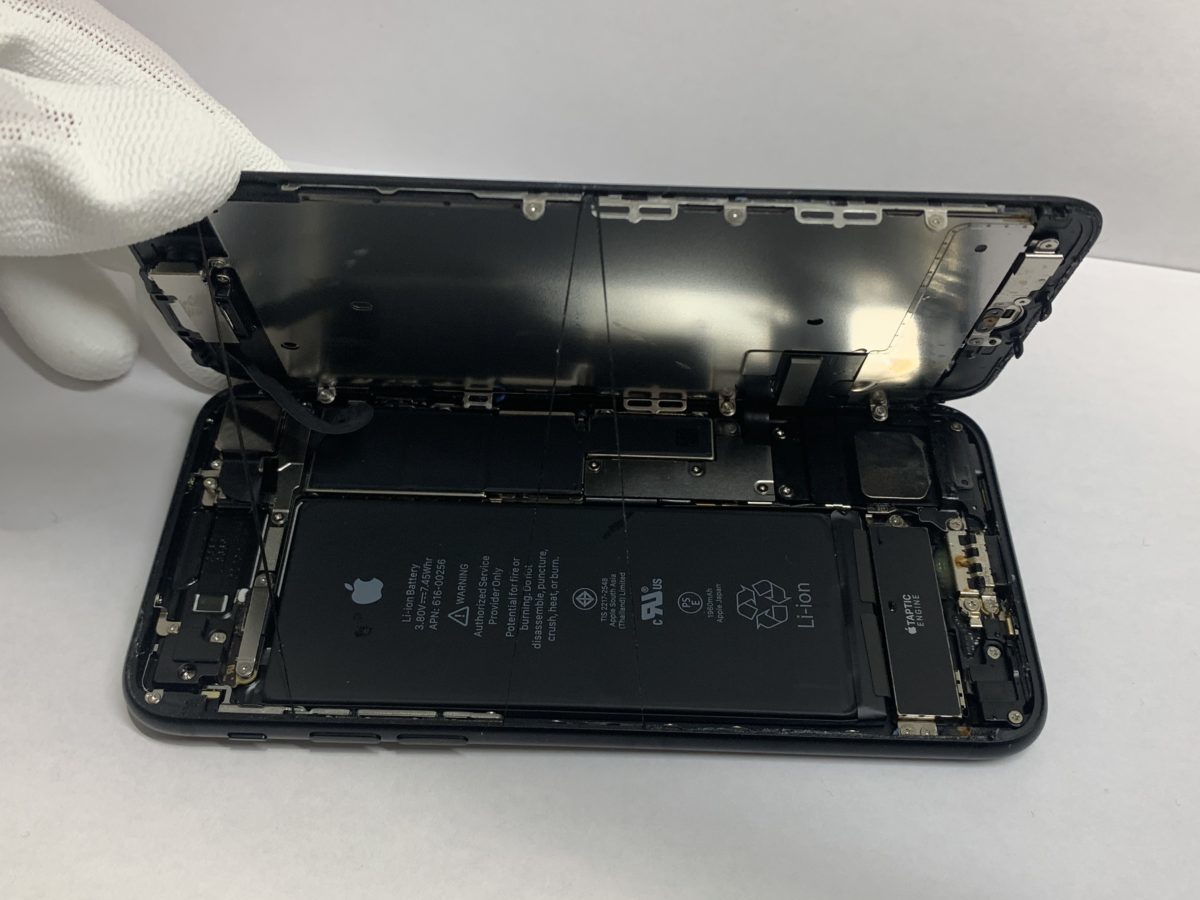 実際に分解しているiPhone7内部の画像