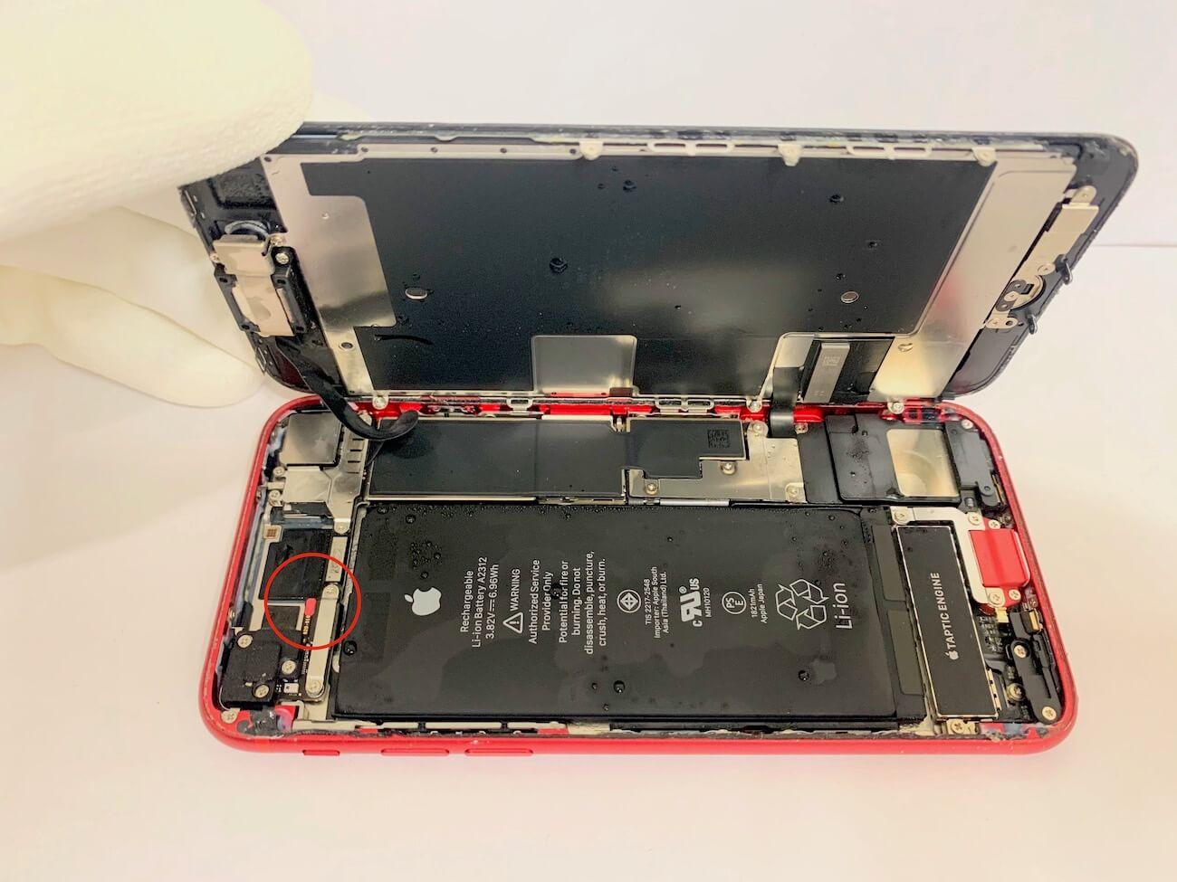 写真は、分解中のiPhoneSE(第二世代)の写真