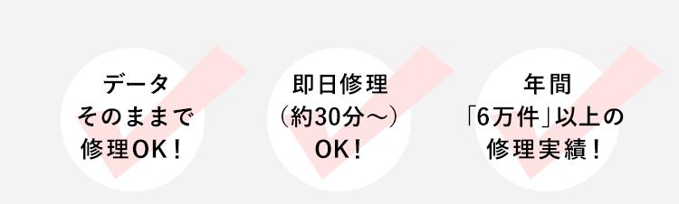 データそのままで修理OK!/即日修理(約60分〜)OK!/年間「6万件」以上の修理実績!